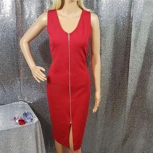 Red Full-Length Sleeveless Zip-Up Dress